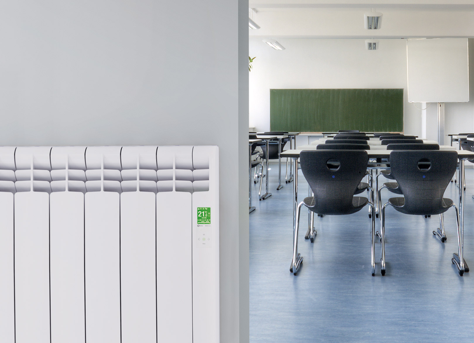 Rointe D Series WiFi electric radiator in school classroom