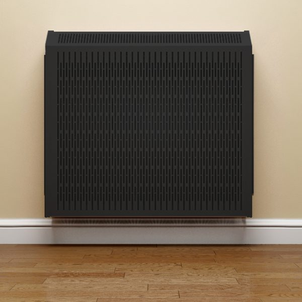 Rointe protective black radiator covers wall mounted in hallway
