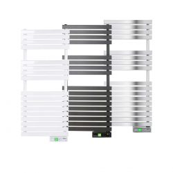 Rointe D Series WiFi 450 watt towel rail in white, black and chrome