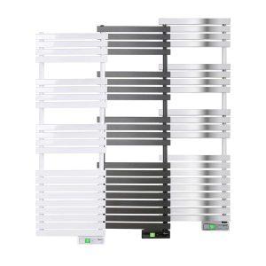 Rointe D Series WiFi 600 watt towel rail in white, black and chrome