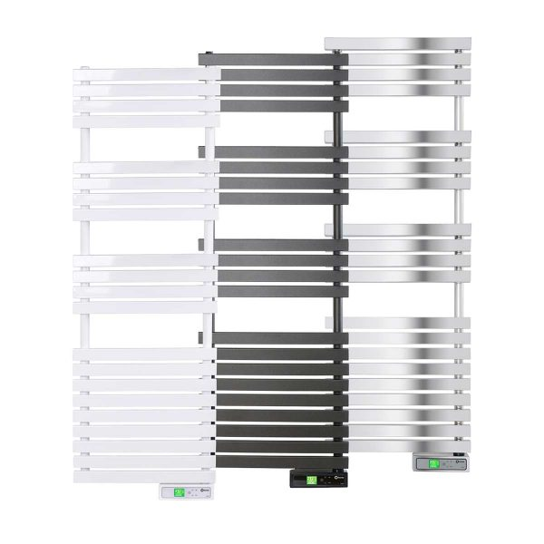Rointe D Series WiFi 600 watt towel rail in white, black and chrome