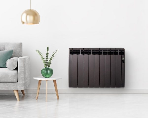 Rointe D Series WiFi black radiator wall mounted in living room with grey sofa