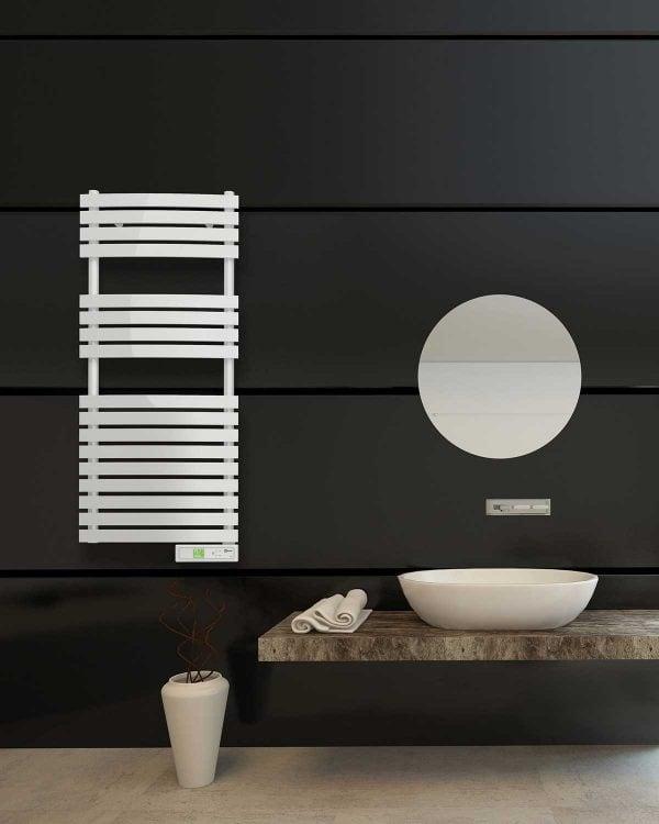 Rointe D Series Wifi white electric towel rail wall mounted to black bathroom