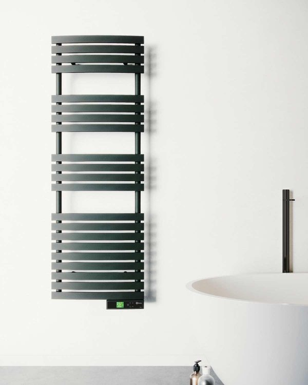 Rointe D Series Wifi black electric towel rail wall mounted to white bathroom
