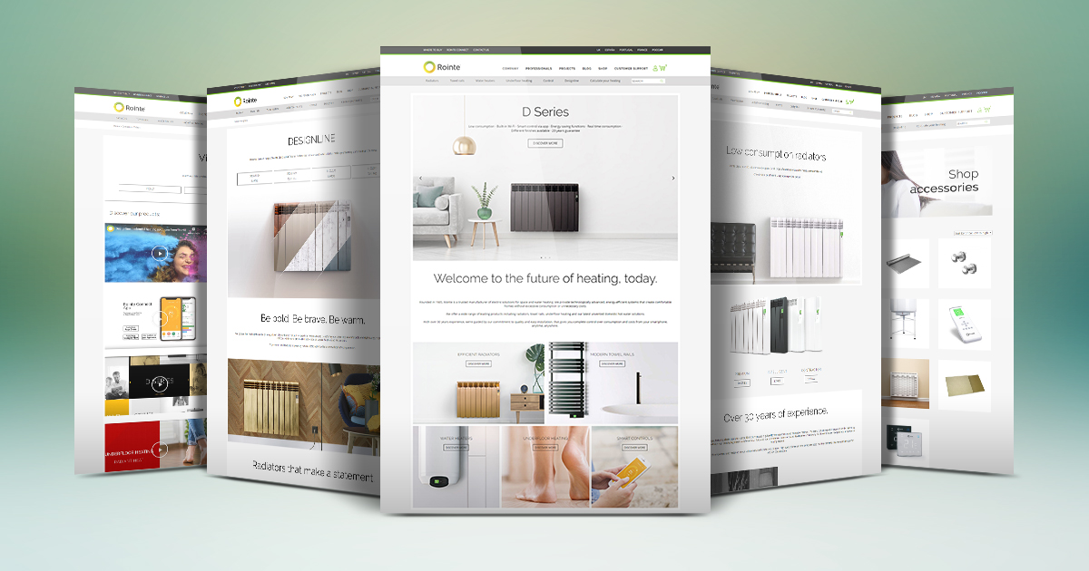 Screenshots showing new Rointe heating website