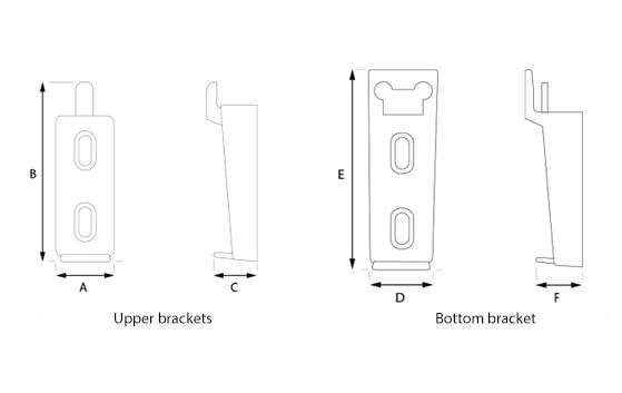 Rointe radiator wall brackets measurement diagram