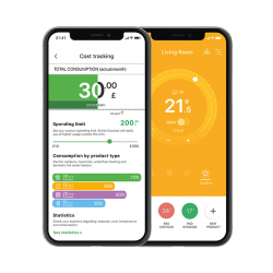 Rointe Connect app cost tracking and adjusting temperature screens