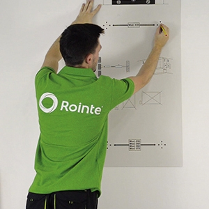 Step 3: marking the towel rail holes using the Rointe template