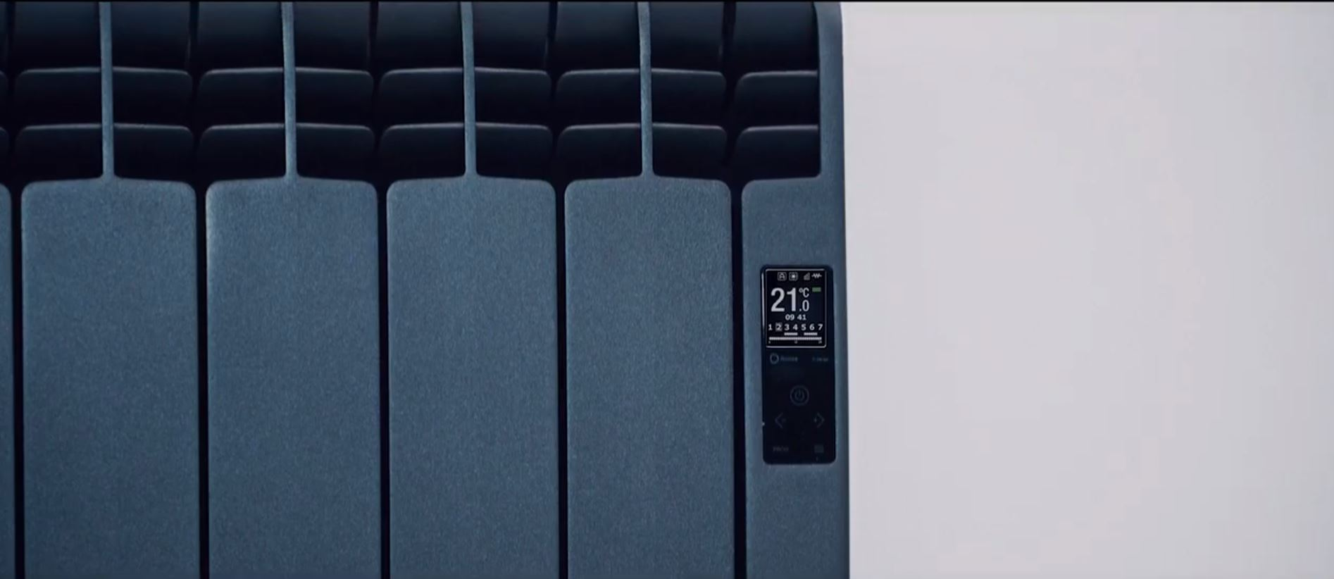 Rointe D Series black radiator close up of control panel