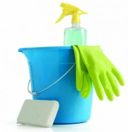 Cleaning bucket, gloves, pH neutral soap and soft sponge