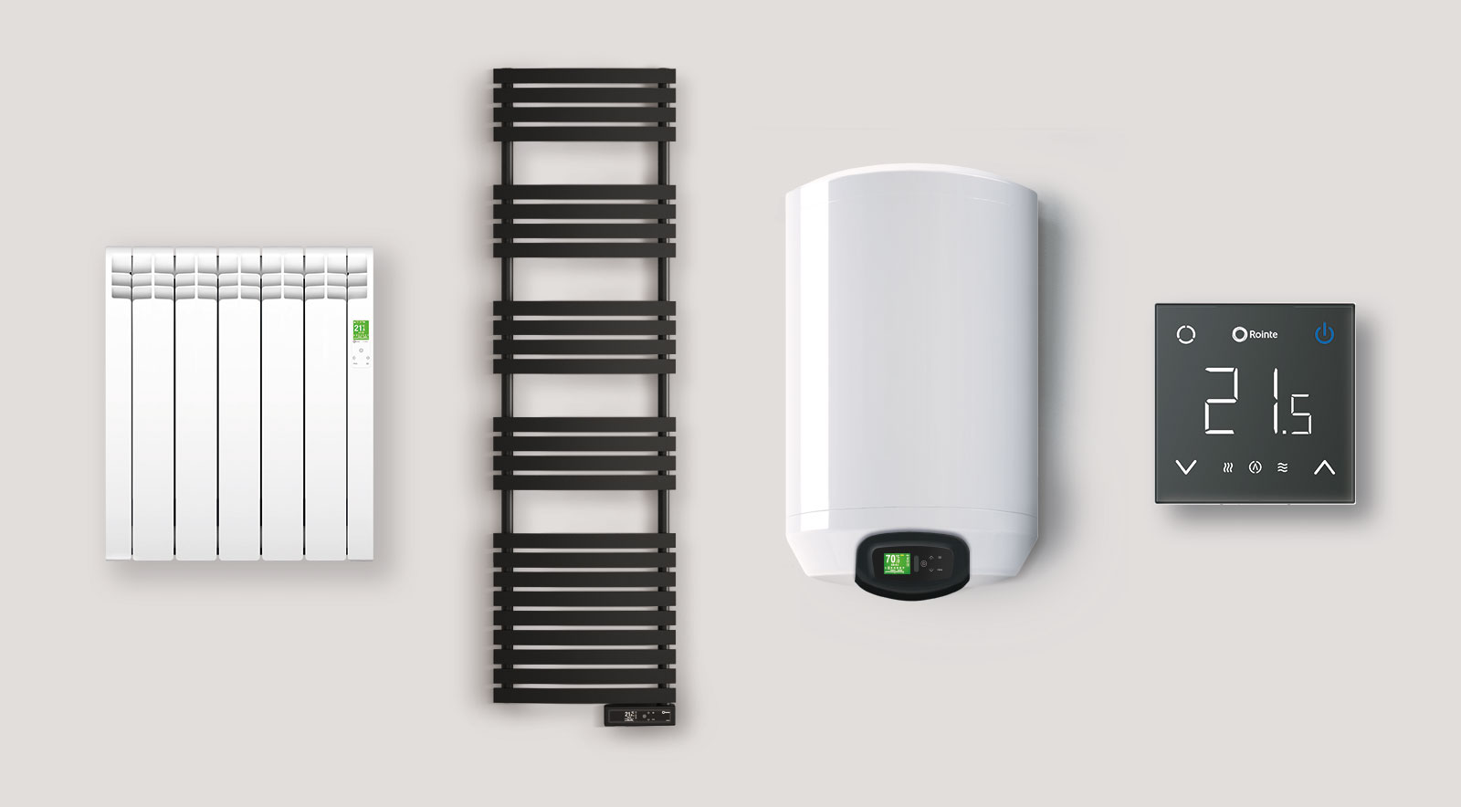 Rointe electric WiFi controlled heating system consists of D Series radiators and towel rails, Rome unvented water heater and CT2 thermostat for underfloor heating