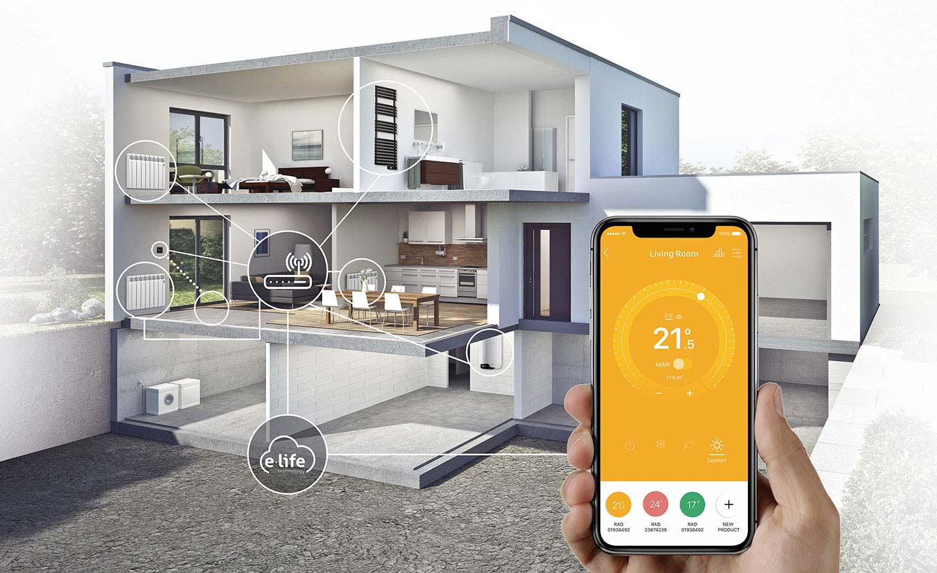 House with Rointe WiFi controlled heating systems controlled by smartphone