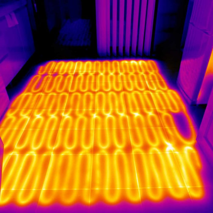 Electric underfloor heating showing infrared heat