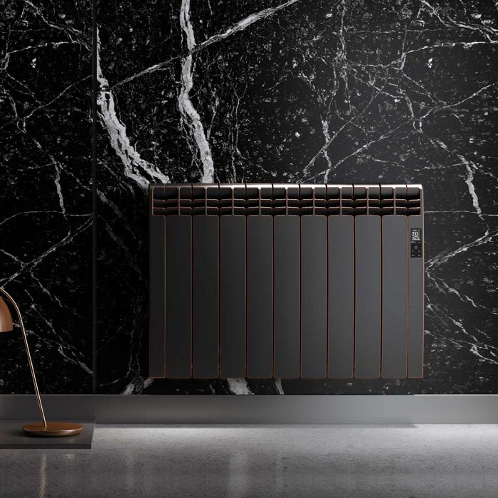 Rointe D Series WiFi designer Maldives electric radiator with matt black over copper finish