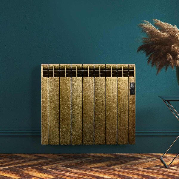 Rointe D Series WiFi designer Damascus electric radiator with gold and black flecked high gloss finish