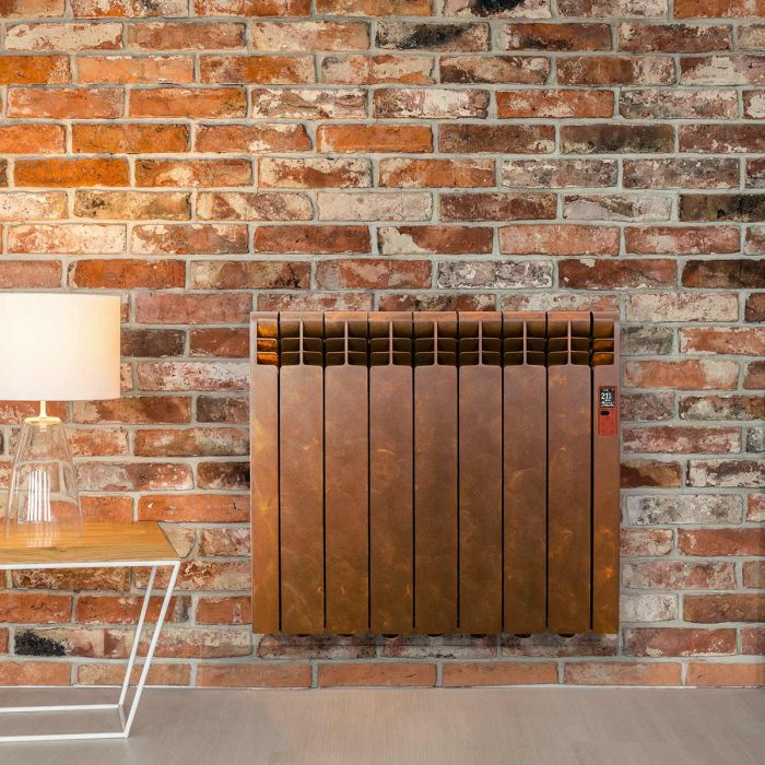Rointe D Series WiFi designer Detroit electric radiator with brown rust oxidation finish