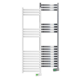 Kyros 1000 watt white and chrome electric towel rails