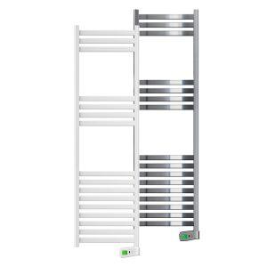 Kyros 1000 watt white and chrome electric towel rails
