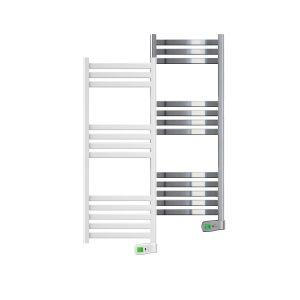 Kyros 500 watt white and chrome electric towel rails