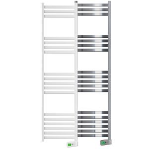 Kyros 750 watt white and chrome electric towel rails