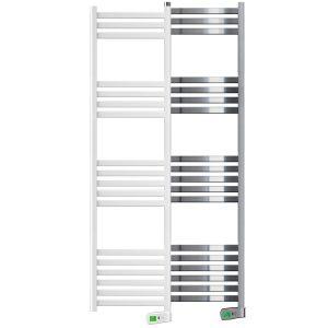 Kyros 750 watt white and chrome electric towel rails