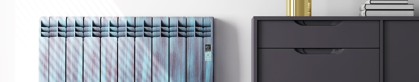 Rointe amazon designer electric radiator with green and brown oxidation finish