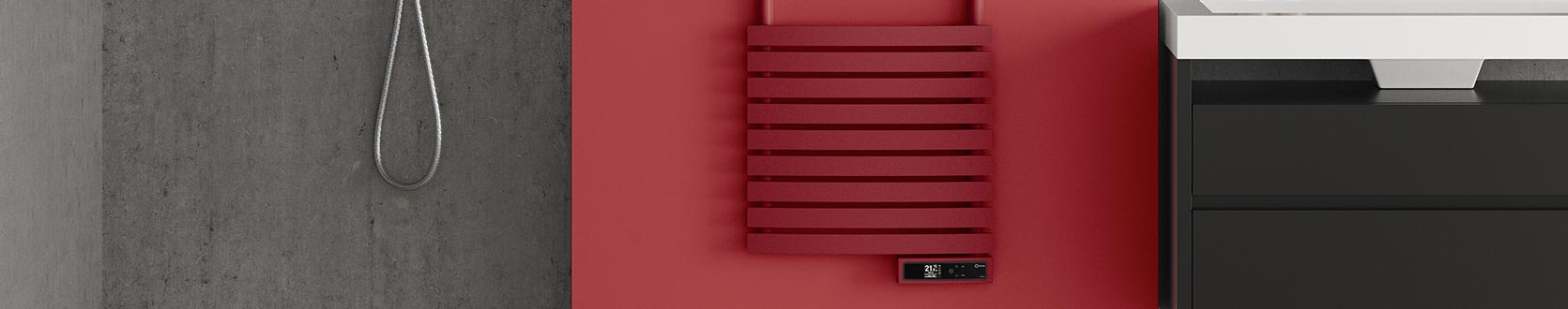 D Series designer electric towel rail with pearl ruby red powder coated finish