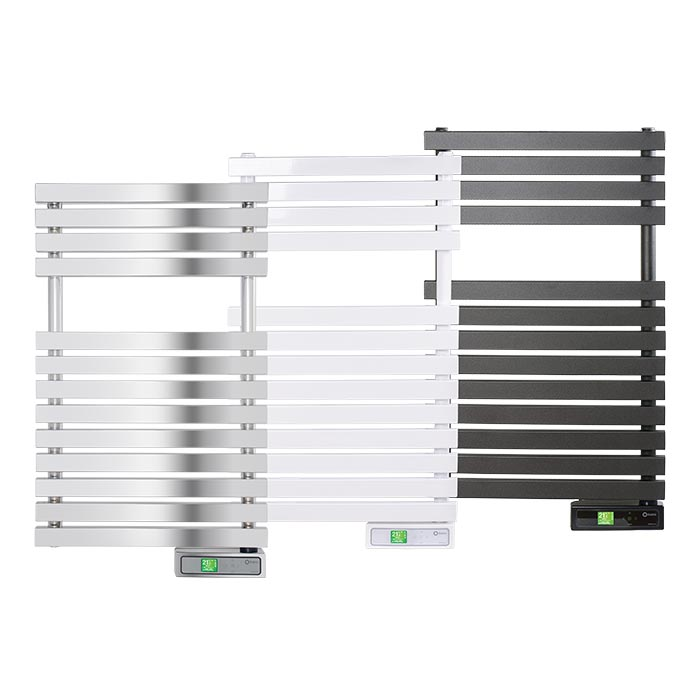Rointe D Series WiFi electric towel rails in chrome, white and graphite