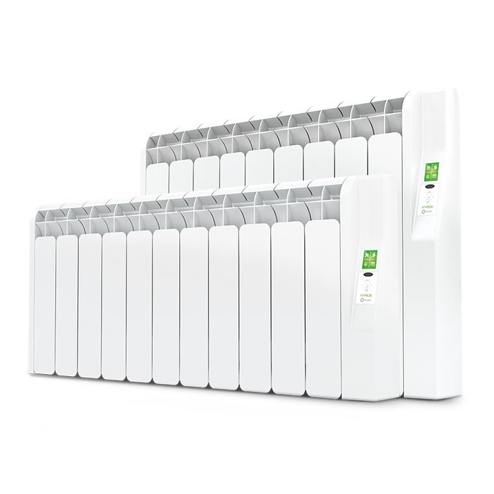 Kyros electric radiator and conservatory radiator in white