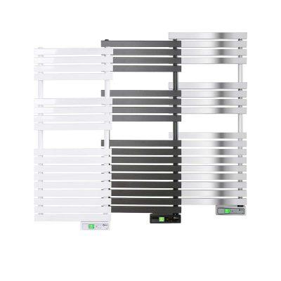 Rointe D Series WiFi 450 watt towel rail in white, black and chrome