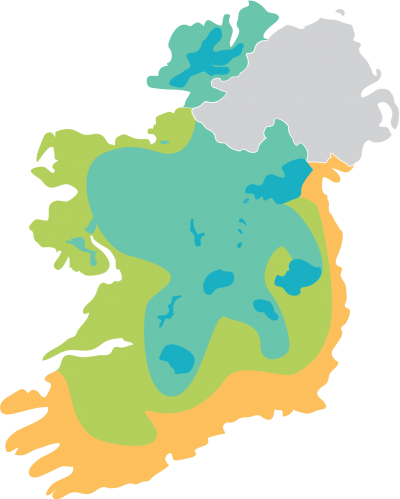 Rointe climate map of Ireland showing mild, cold, very cold and extra cold areas