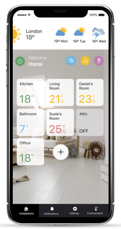 Rointe Connect app manage installations home screen showing each zone