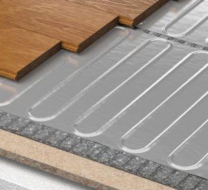 Close up cross section of a Rointe Erko foil underfloor heating mat